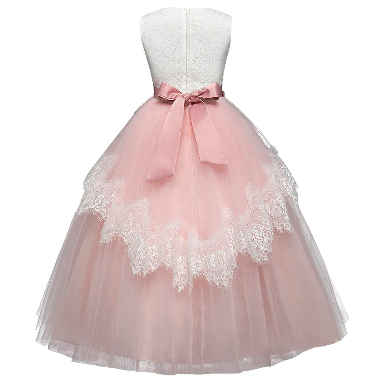 2febd57b5122 Blumenmädchen Kleid Spitze Tutu Kleid Bodenlangen Prinzessin Junior  Brautjungfer Pageant Für Hochzeit Kommunion Abendkleider Party