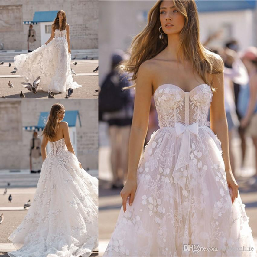 Fabulous Berta New 2019 Wedding Dresses Elegant Sweetheart 3D Flora Appliques Summer Bohemian Western Bridal Gowns Custom Made