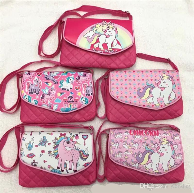 Hot unicorn crossbody bag American style Girls fashion message bag cute coin purse Costume kid gift 50pcs