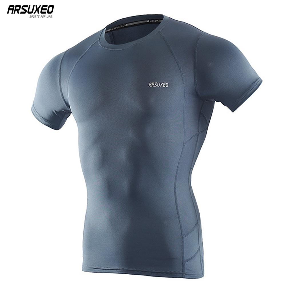 b07368f0225 2019 ARSUXEO Men S Compression Shirt Base Layer Running T Shirts Short  Sleeves Workout GYM T Shirt Clothing C52 From Bingquanwat