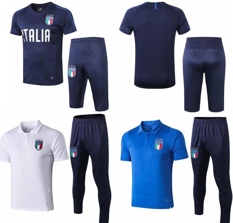 en ligne nouvelle version promotion Survetement football Italy cavani short sleeve 3/4 training kits Italian  traini de foot mens tracksuits suit Paris Saint-Germain soccer sets