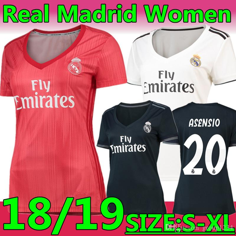 cheaper 56c63 bf970 Women MODRIC Soccer Jersey 2018 2019 Real Madrid Lady SERGIO RAMOS BALE  MARIANO ASENSIO ISCO NAVAS Football Shirt Kits VINICIUS JR Girl