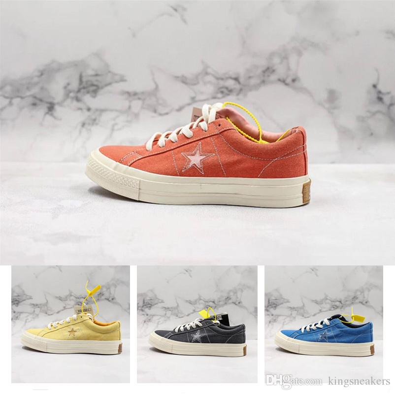 2019 New Arrival OrthoLie One Star Sunbaked Canvas Casual Shoes High quality Yellow Blue Men Women Outdoors Classic Shoes Size 35-44