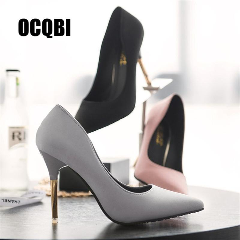 1caa8d181bea Dress Shoes Classic Black Pink Grey Red Bottom Brand Women Thin Super High Heels  Pumps 10cm Silk Pointed Toe Evening Party Dress Pumps High Heel Shoes Mens  ...