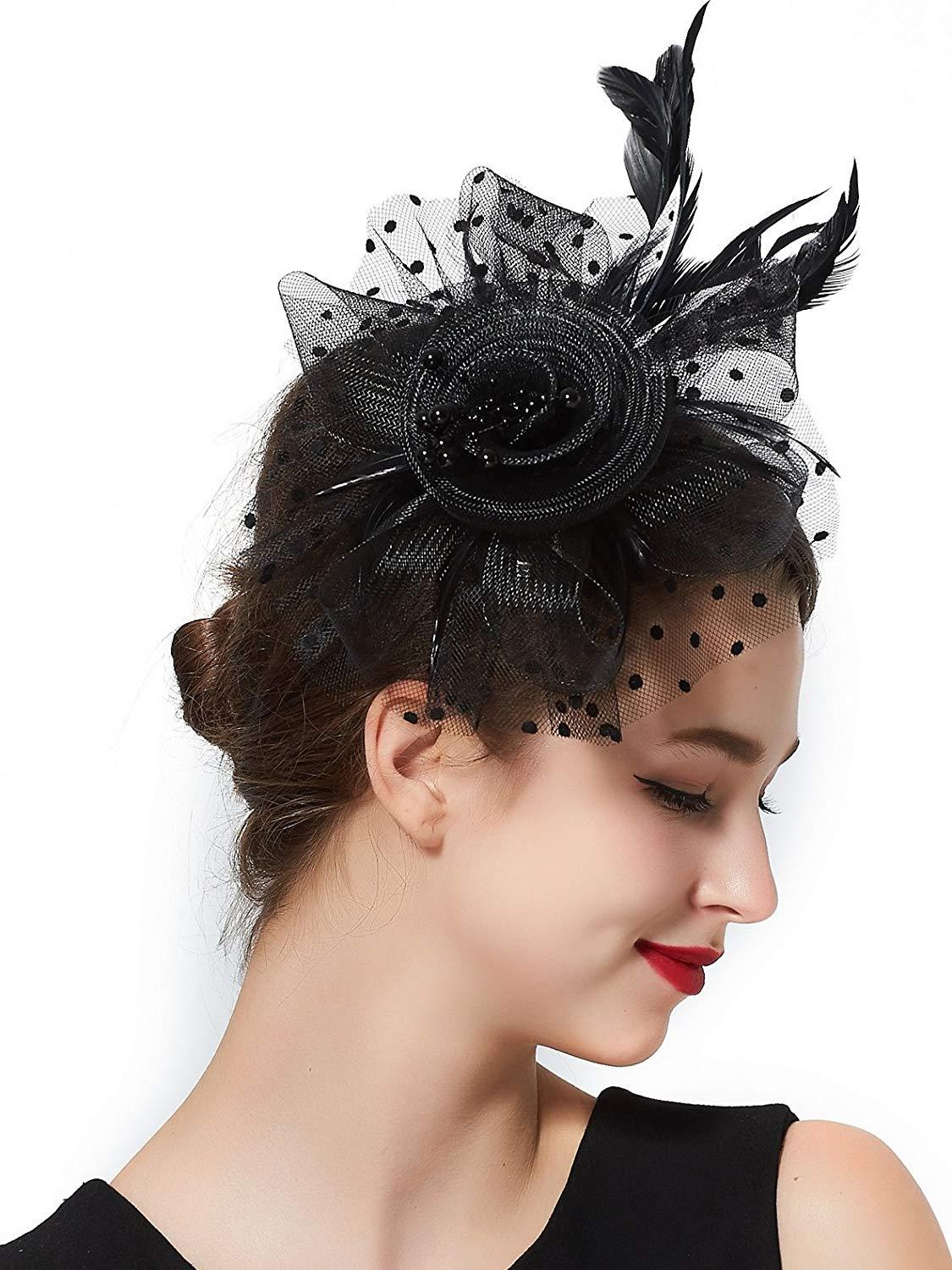 d98f39bb58f12 Fascinators For Women Tea Party Headband Hat Kentucky Derby Wedding  Headpiece Cocktail Flower Mesh Feathers Hair Clip 1920s Lady Accessories UK  2019 From ...