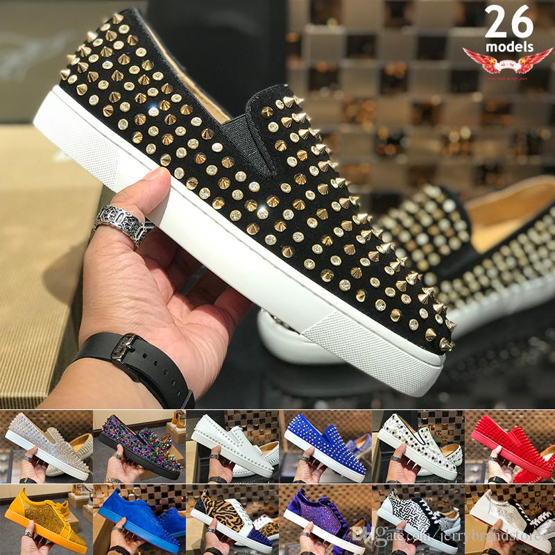 8616b0c4ef5f Brand Fashion Luxury Brand Red Bottoms Mens Women Shoes Fashion Suede With  Spikes Loafers Rivets Casual Dress Boots Flats Luxury Sneakers Red Bottom  ...