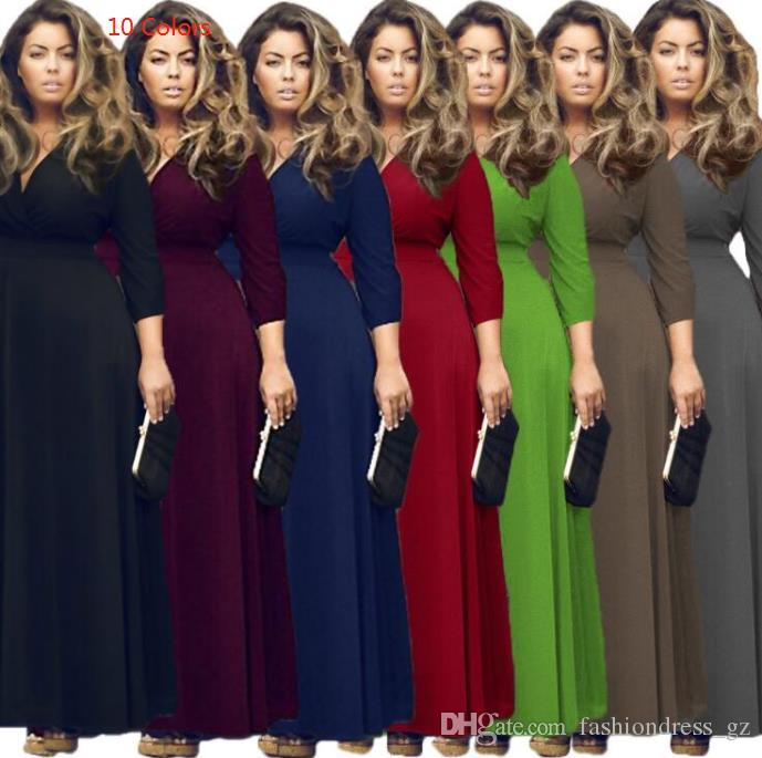 d6d8f432c 2019 Fat Women Party Dresses 3 4 Sleeve V Neck Sexy Fashion Polyester L XL  2XL 3XL Plus Size Maxi Evening Dresses From Fashiondress gz