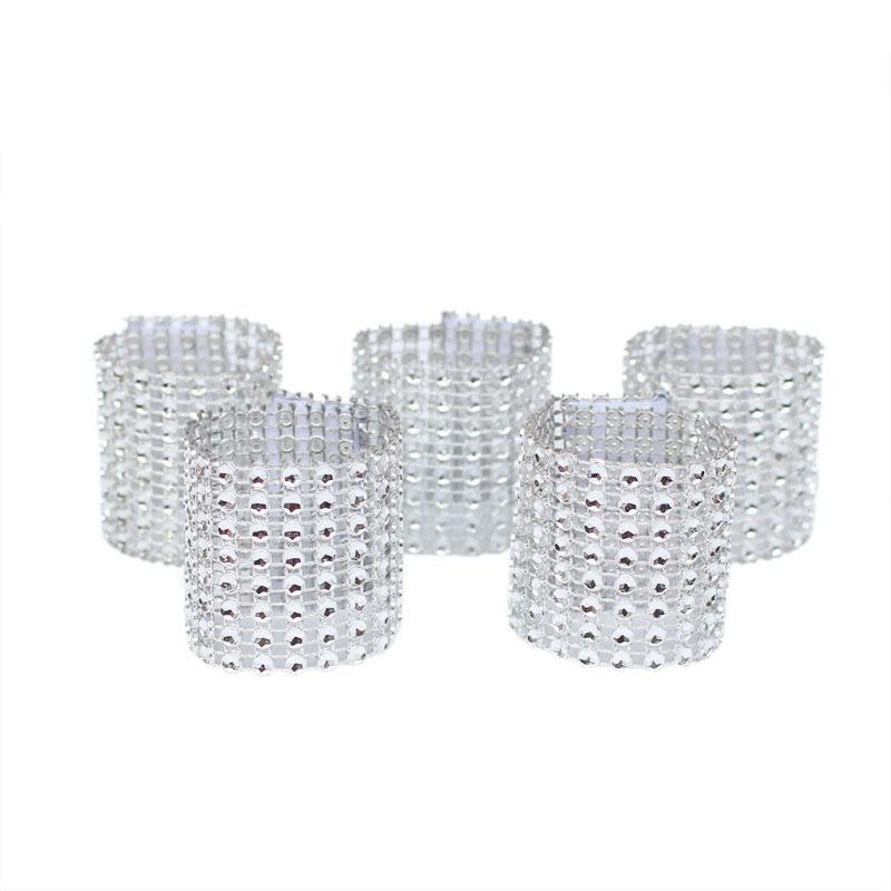 Mesh Trim Bling Diamond Wrap Cake Napkin Ring Roll Crystal Ribbons Party Wedding Table Decoration Party
