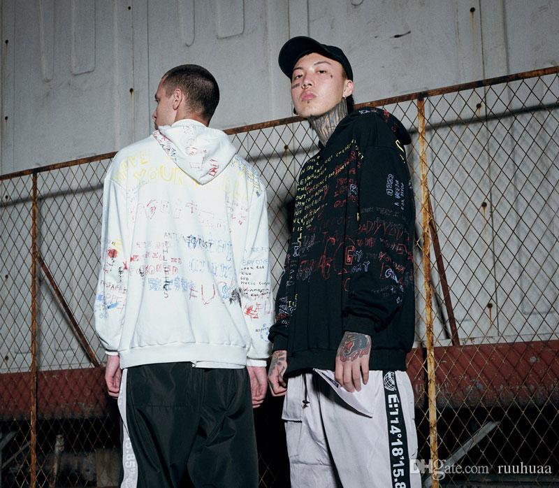 Men's Clothing Hip Hop Graffiti Hoodies Mens 2018 Autumn Casual Pullover Sweats Hoodie Male Fashion Skateboards Sweatshirts Us Size