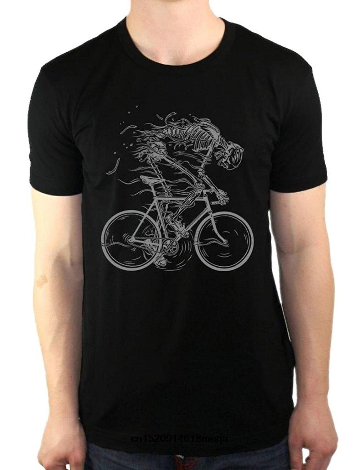 t shirt Skeleton Cycling Bicycle Bone bikes Fixie Men Cotton Casual Cool Short Sleeve Tops T-Shirt