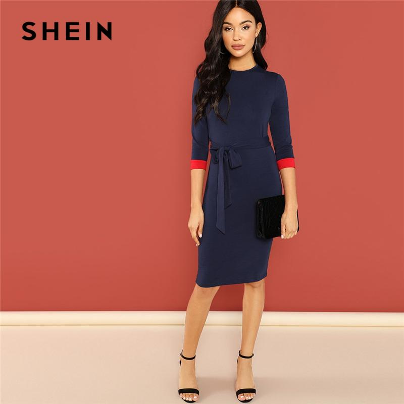 c1617913e30 2019 Shein Navy Office Lady Colorblock Belted 3 4 Sleeve Pencil ...