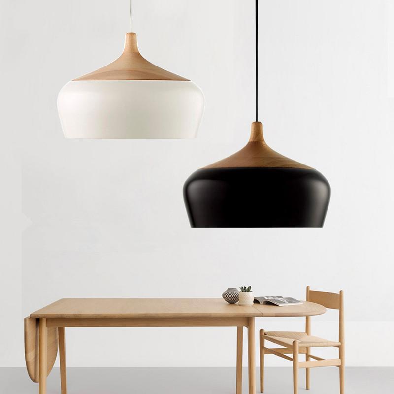 Modern Aluminum Oak Wood Led Pendant Lights Lustre White Pendant