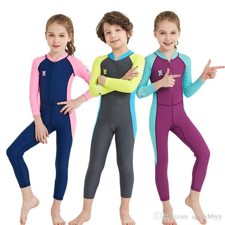 b5b27f05bf35 Traje de neopreno para niños Siamés Lycra protección solar ropa niños y  niñas de manga larga snorkel velocidad medusas traje de baño DHL envío ...