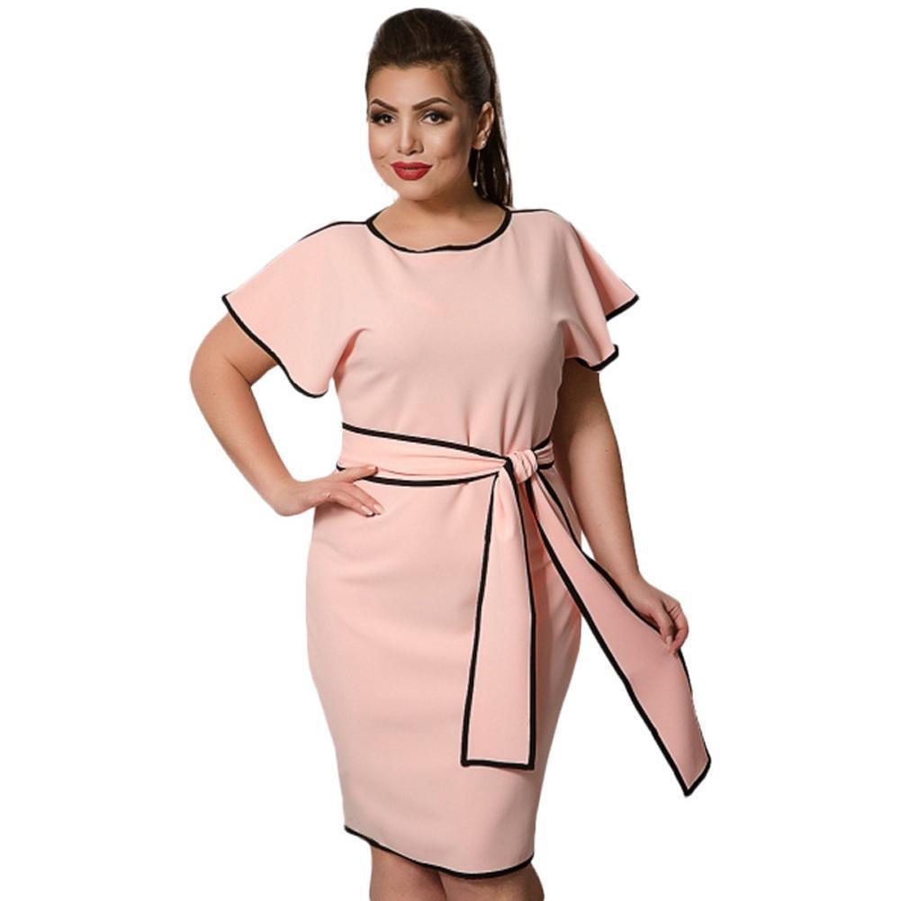 3654937c8 Compre Moda Feminina Tamanho Grande Borboleta Manga Dress Contraste Trim  5xl 6xk Plus Size Midi Dress Elegante Escritório Ladies Dress Com Caixilhos  De ...