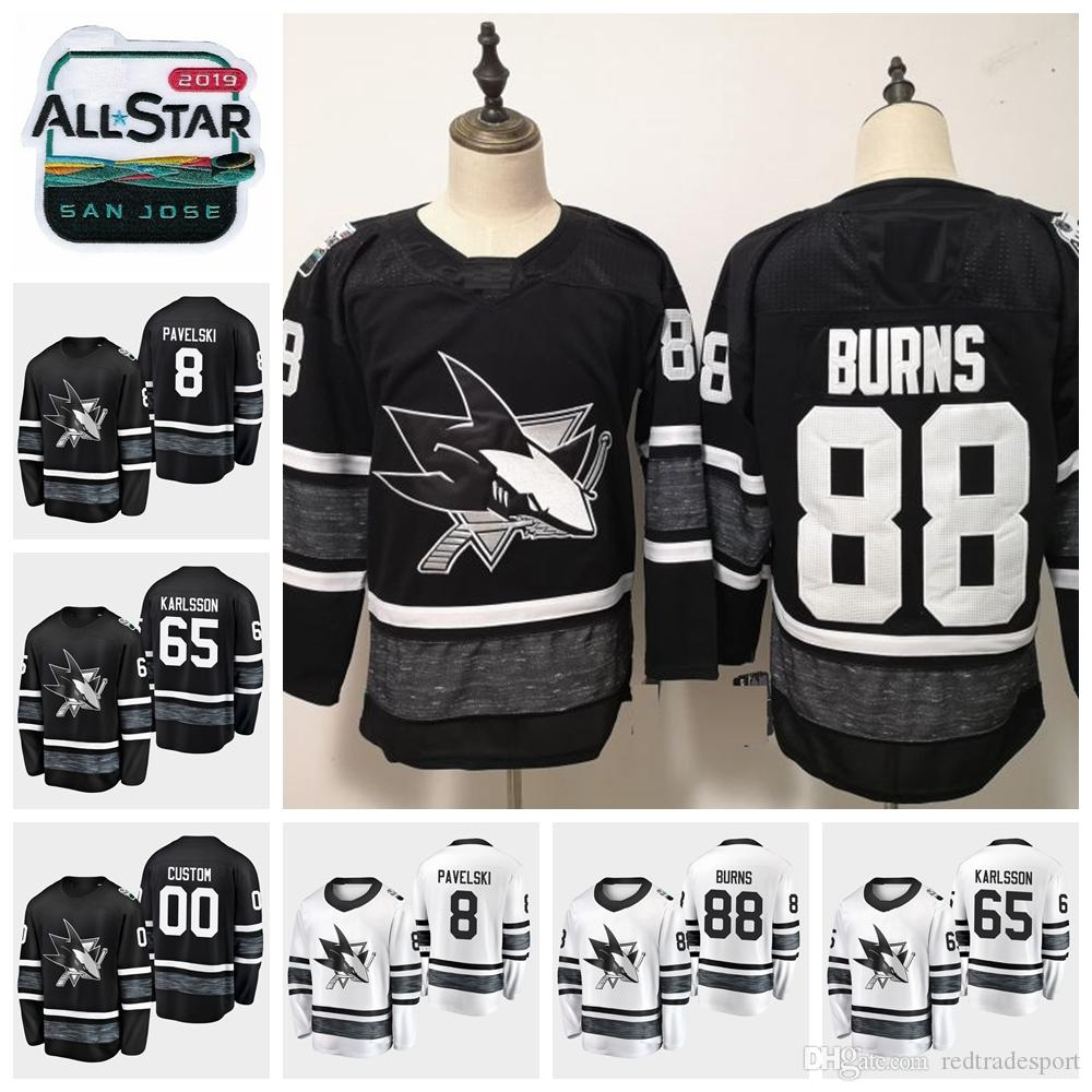 197331417 2019 2019 All Star Game 88 Brent Burns 65 Erik Karlsson Customize San Jose  Sharks Hockey Jerseys Black White 8 Joe Pavelski Stitched Shirts From ...