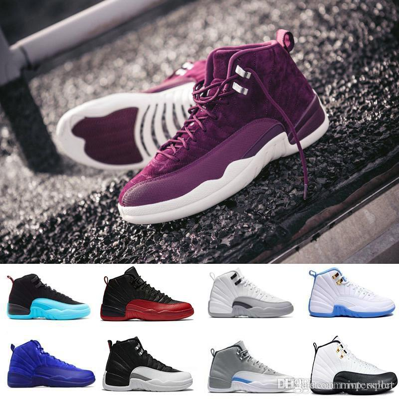 9a271a05c03b59 Men Women 12 GS Hyper Violet Youth Pink Valentines Day 12s Plum Fog Flu  Game Basketball Shoes Girls Master Taxi Sneakers High Quality Mens Loafers  Designer ...