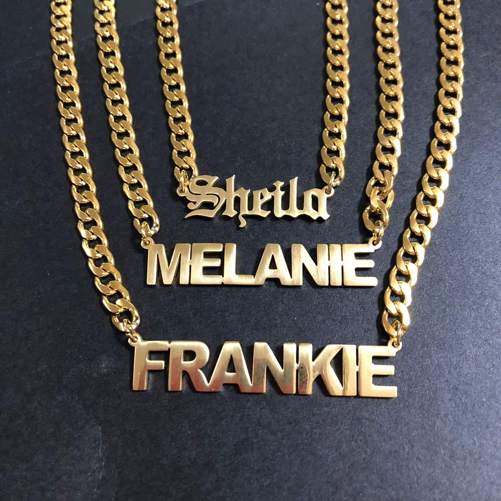 f3646bbc1b3f6 Custom Necklace Personalize Choker Necklace Women Stainless steel Pendant  Fascinating Name Necklace Man Jewels Boyfriend Husband