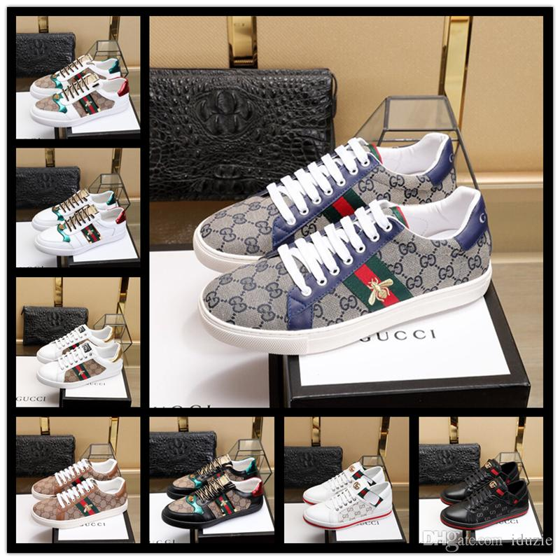 77b06f6b557 2019 Mens Women Shoes Sneakers Loafers White Embroidery Bee Tiger Head  Snake Fruit Dog Casual Flat Unisex Presto Train Moccasins Boat Shoes From  Iduzie