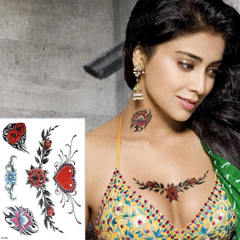 Tatoo Rose Sexy Love Sticker Bikini Girl Tatto Artamp; Waterproof Chest Body For Temporary Women Waist Tattoo Rq354jLA