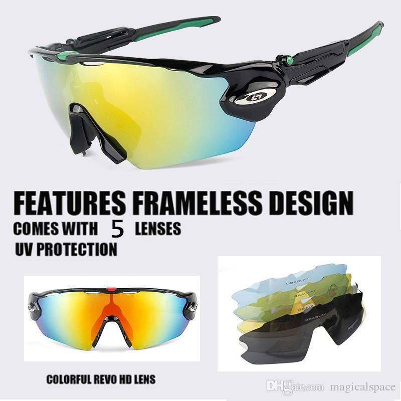 af60140038 Más reciente llegada gafas de sol polarizadas para ciclismo 5 lentes de protección  UV400 Hombres Mujeres Deportes al aire libre Bicicleta Montar Gafas de ...