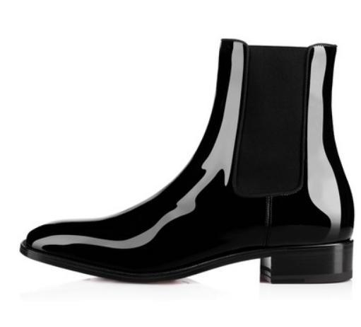 new concept 9fb3d 82583 2018 Famous Red Bottom Boot Men Casual Shoes Black Patent Leather Flat Men  Chelsea Ankle Boots Shiny Leather Sole Dress Party s1