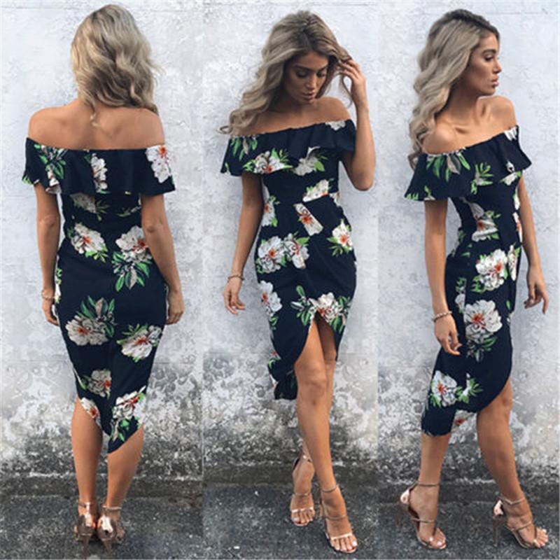 Neue Art und Weise Frauen-Blumenkleid-Kurzschluss-Hülsen-reizvolle weg vom Schulter-Boho-Kleid-Damen Anmut-Kleid 2018 Neue Ankunft