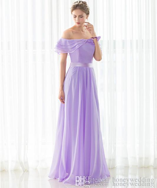 Fantasy Bridesmaid Dresses Long Off Shoulder Short Sleeves Draped Chiffon  Cheap Under 50 Bridesmaids Wedding Party Dress In Stock Bridesmaid Dresses  Long ... 8654f59828eb