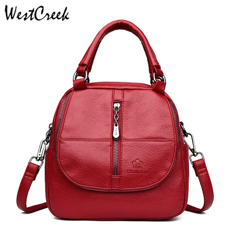 844a7b39917 WESTCREEK Brand Leather Small Backpack Women College Bag for Girls High  Capacity Laptop Travel Daypack Anti-theft Backpack Purse