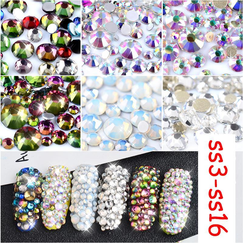 800pcs Flame Nail Crystal 3d White Clear Flatback Nail Art Rhinestones Dmc  Ss3-ss16 Diy Glitters Manicure Deco