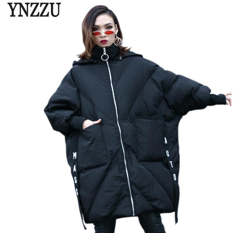 baac9a88809 2019 YNZZU Winter Jacket Women 2018 Chic Letter Mid Long Cotton Padded Coat  Women Parka Thicken Warm Hooded Loose Female Jacket YO717 From Vikey18, ...
