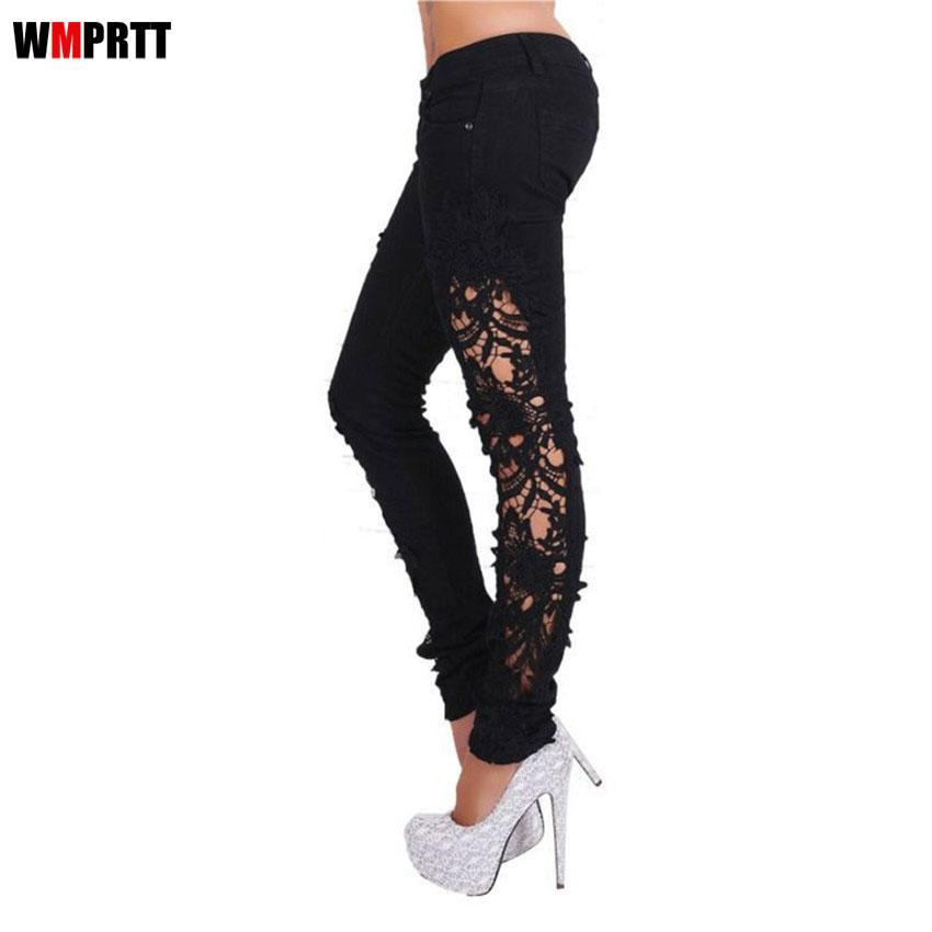 680397956a5 Compre Moda Mujer Side Lace Jeans Ahueca Hacia Fuera Flaco Denim Jeans  Bordado Agujero Mujer Lápiz Pantalones Patchwork Pantalones Para Mujeres A  $29.67 Del ...