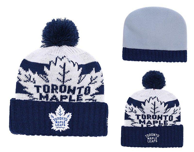 f8f611ec2a3 2019 NEW Men S Toronto Maple Leafs Knitted Cuffed Pom Beanie Hats Striped  Sideline Wool Warm Hockey Beanie Cap Men Women Bonnet Beanies Skull Hat  From ...