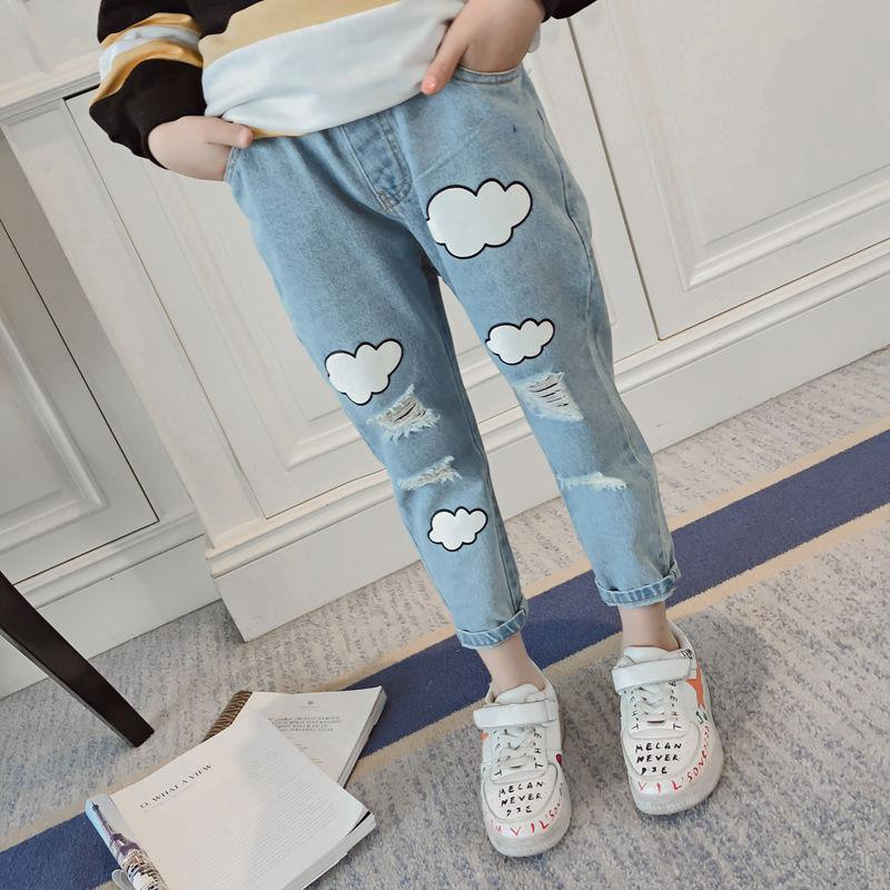 5a3121e34d Girls Pants Spring And Autumn 2019 New Girl Fashion Hole Jeans Big Children  Korean Loose Casual Trousers Skinny Jeans Boy Little Girl Jeans From  Usefully16