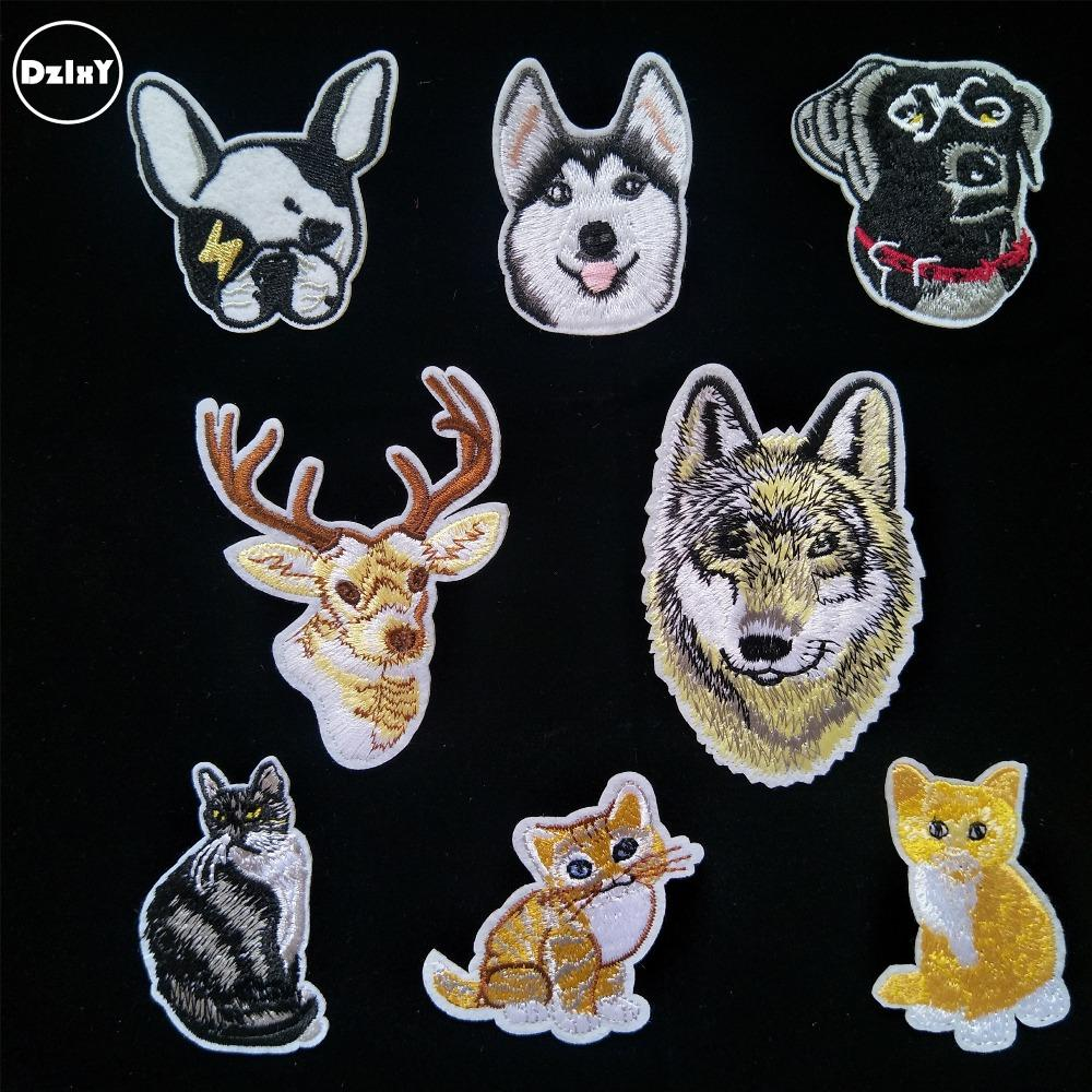 (DzIxY) 100 PCS Animals Husky Dogs Cats parches Embroidered Iron on Patches for Clothing DIY Stripes Badges