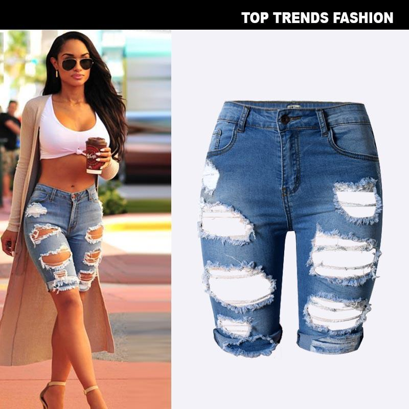 beb9ac0d7 2019 Womens Destroyed Denim Stretch Ripped Hole Washed Distressed ...