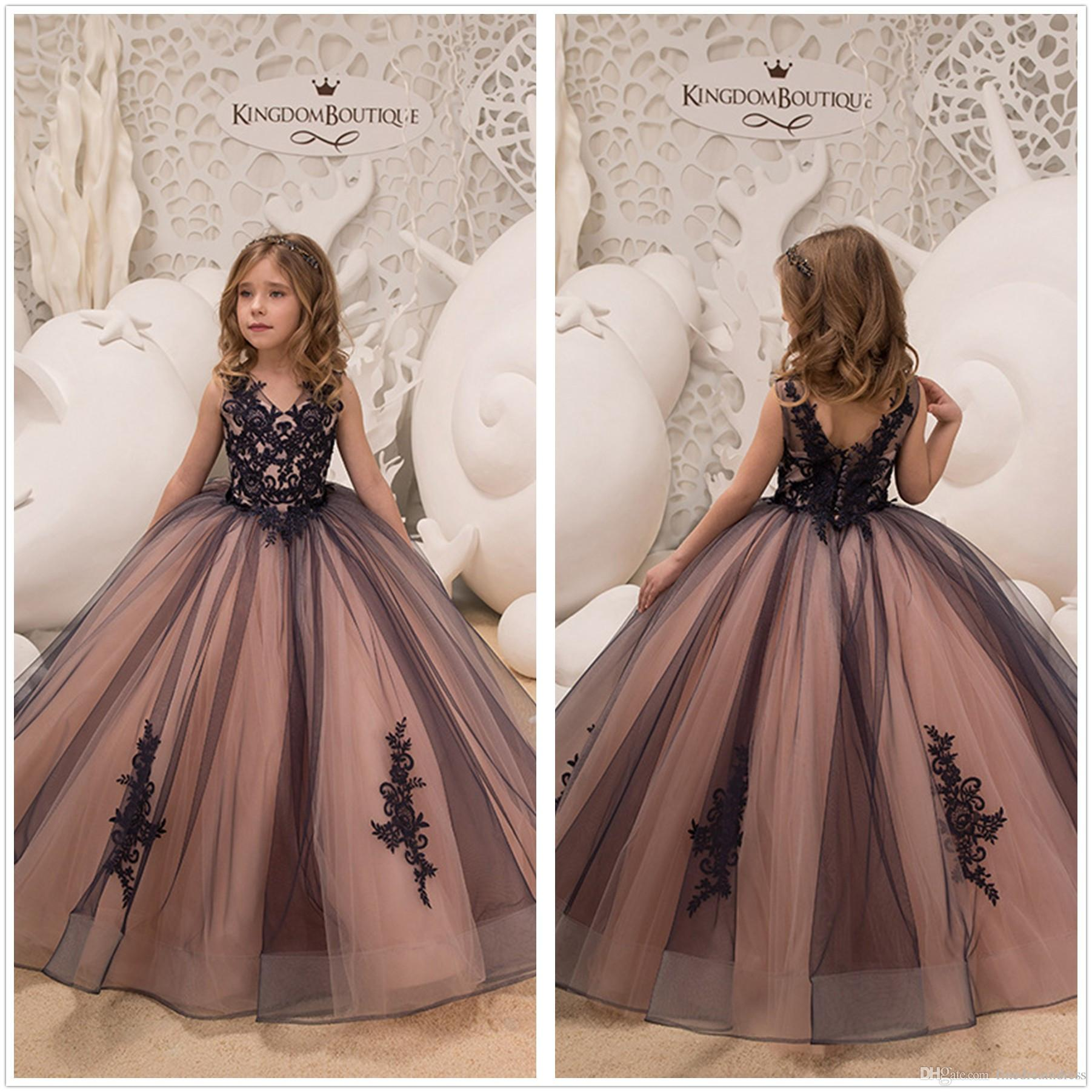 14ab8aef359 2019 V Neck Lace A Line Flower Girl Dresses Vintage Tulle Applique Floor  Length Gilrs   Pageant Party Dresses With Buttons
