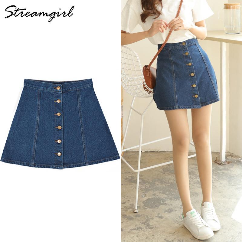 6f95e6971 Streamgirl A-line Jeans Falda Botones Mujer Cintura Alta Botón Falda Jeans  Womens Faldas negras Denim Faldas cortas para mujer