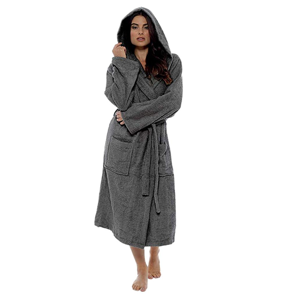 Fashion Women Hooded Thick Robes Soft Coral Fleece Winter Plush Lengthened Robe Shawl Bathrobe Home Clothes Long Sleeved Robe