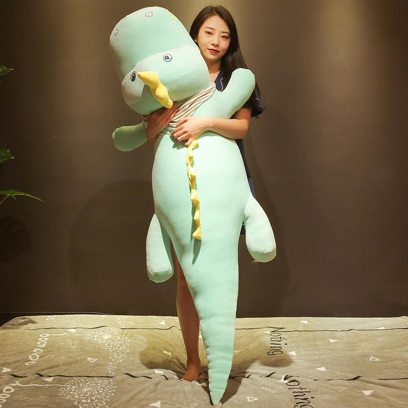 Dorimytrader kawaii crocodile plush toy doll giant animal alligator sleeping cushion bed pillow girl cute birthday gift 150cm