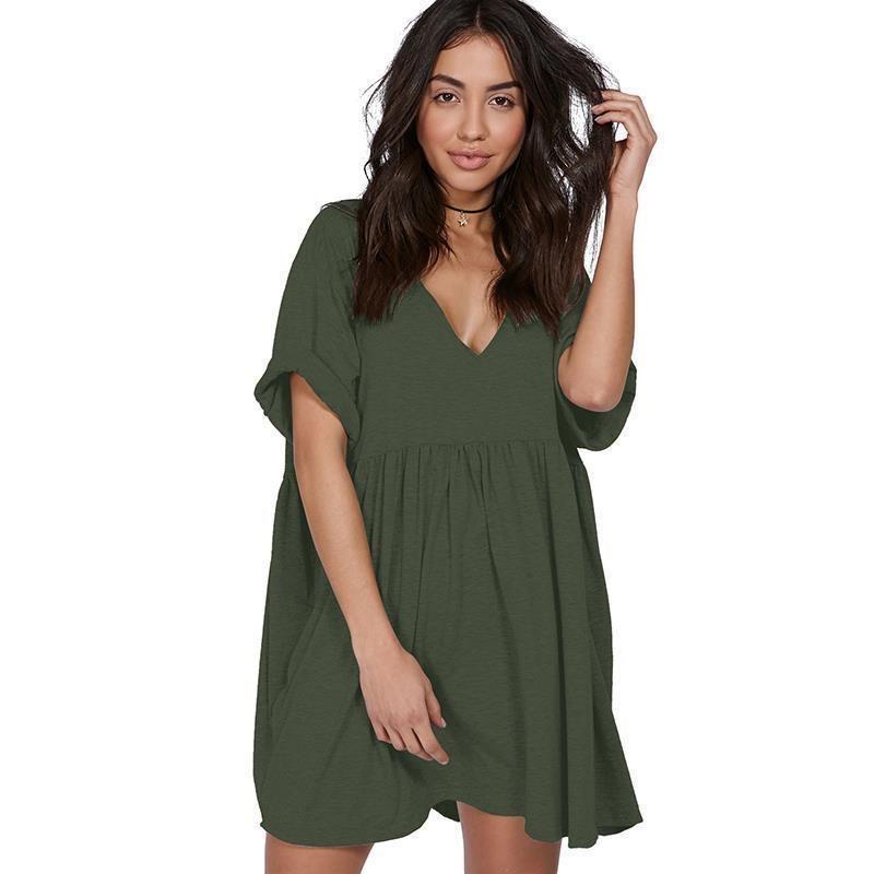 b6e3acb9ffa European Style Women Summer Dresses 2019 Sexy Deep V-Neck Office Dress  Vestidos Loose Casual Ladies Dresses Mini Dress LJ9796Y