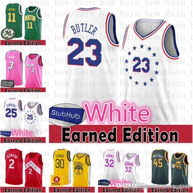more photos 279ba 8d1dc Earned Edition Philadelphia Jersey 76ers Jimmy 23 Butler Joel 21 Embiid Ben  25 Simmons Jayson Tatum Kyrie 11 Irving Boston Leonard Celtics