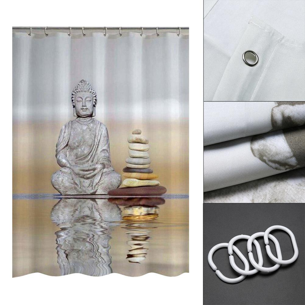 2019 180cm Buddha Shower Curtains Waterproof Fabric Bathroom Curtain With Hooks Custom For Home Decor C18112201 From Mingjing03