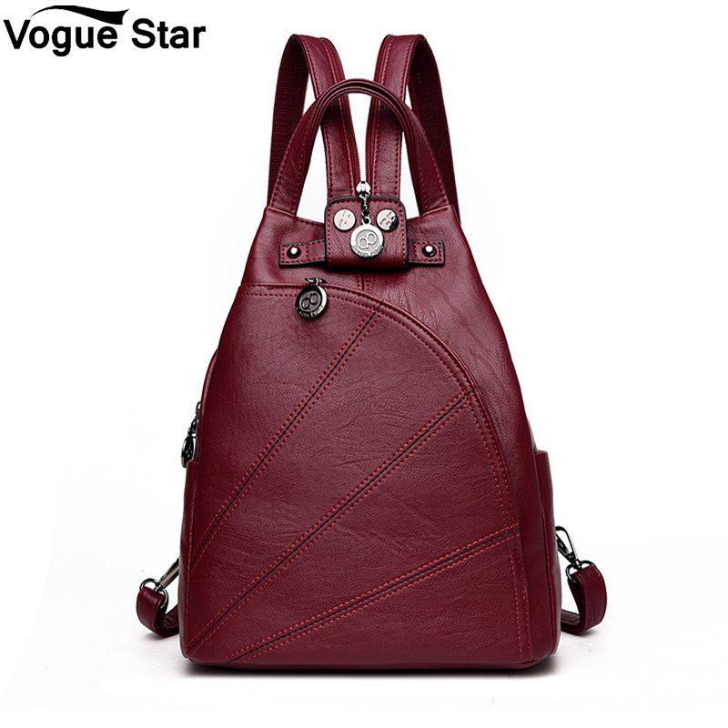 4b46217ea20a Female School Shoulder Bags For Teenage Girls Travel Back Bag Fashion  Leisure Women Backpacks Women S PU Leather Backpacks M206 Rolling Backpacks  Backpacks ...