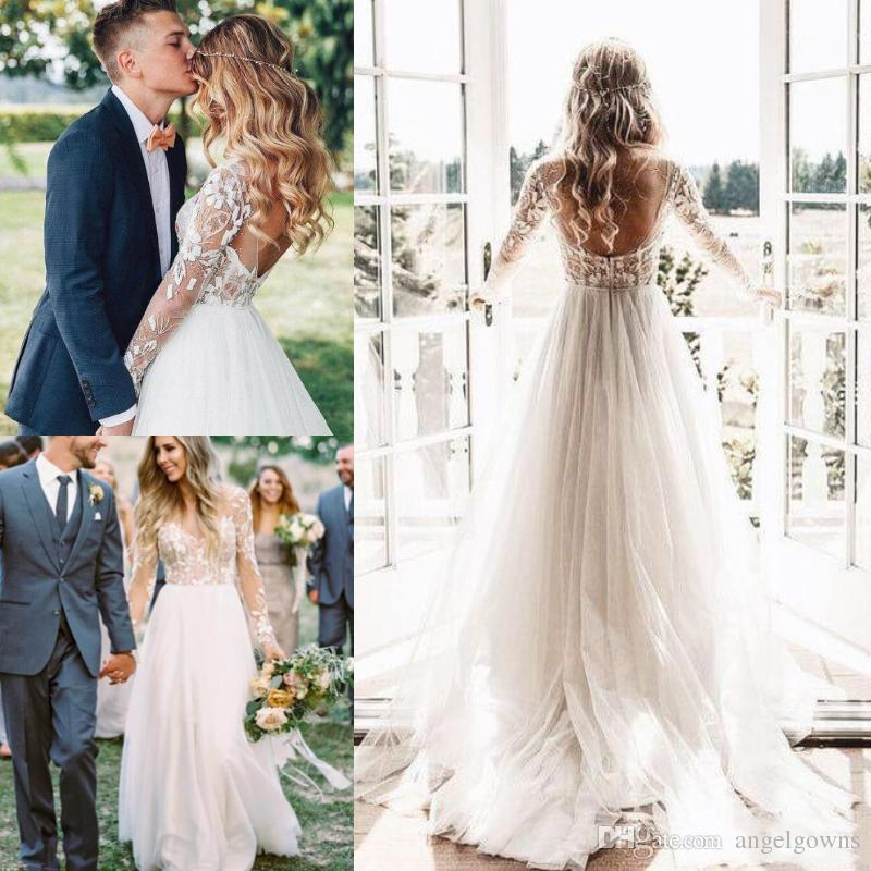 8e3f5013758ad Sexy Country Wedding Dresses A-Line Low Back New 2019 Deep V Neck Illusion  Long Sleeves Lace Applique Cheap Tulle Bohemian Beach Bridal Gown