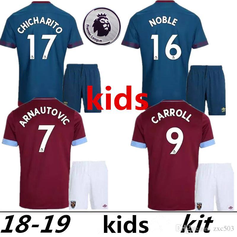 2019 IN Stock Kids Kits 2018 2019 West Ham United Home Away Kids Jersey 18  19 CHICHARITO Football Jerseys CARROLL SAKHO AYEW Soccer Shirt From Zxc503 d5c536916