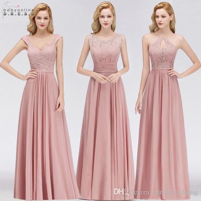 a5fe802fde04 100% Real Photos Cheap Bridesmaids Dresses For Summer Boho Beach Weddings A  Line Lace Chiffon Floor Length Wedding Guest Gowns CPS1058 72 Bridesmaid  Dresses ...