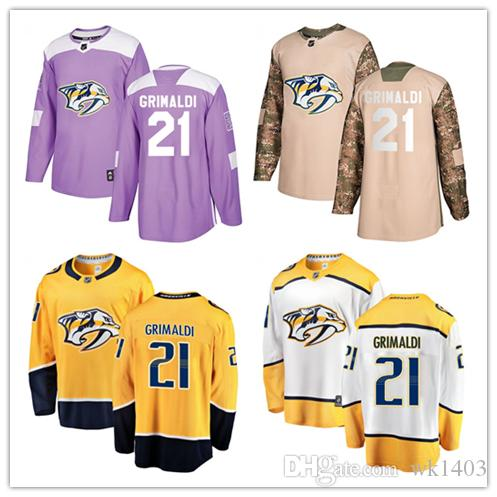 buy popular a2258 74d83 Nashville Predators jerseys #21 Rocco Grimaldi Jersey hockey men women  youth gold yellow white home Breakaway Stiched authentic Jerseys