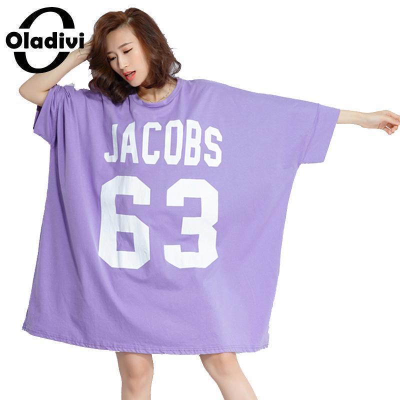 524fdc8013f Oladivi Oversized Dresses Women Plus Size Clothing Casual Loose Letter  Print Shirt Dress Ladies Long Top Tee Tunic 2018 Vestidio C19010801 Cheap  Evening ...