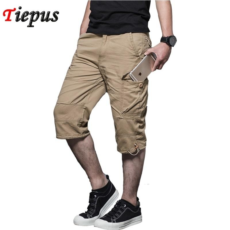 e816eb9414 2019 Summer Men'S Baggy Multi Pocket Zipper Cargo Shorts Breeches Male Long  Army Green Khaki Men Tool Work Short Bermuda Big Size 5xl C19041702 From ...