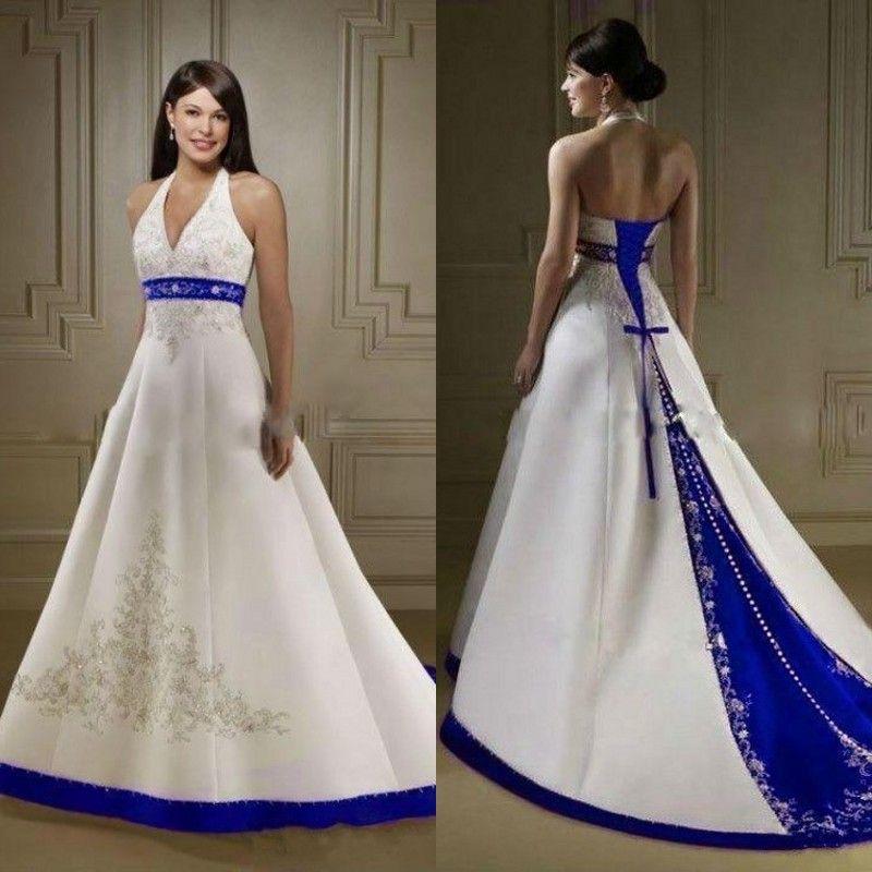 6f1e85e56cf2 Azul real y blanco de la vendimia Vestidos de novia Vestidos Escote halter  Una línea Con cuentas Bordado Diseño Satén Vestido de novia al por mayor ...